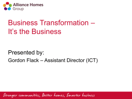 Business Transformation * It*s the Business
