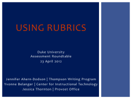 An Introduction to Rubrics - Assessment