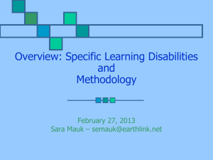 Learning Disabilities and Methodology