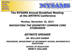 Dr. William Farber`s presentation from 2014 NYSAMS Breakfast