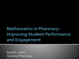 Mathematics in Pharmacy: Improving Student Engagement