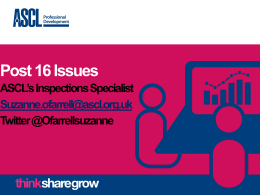 ASCL`s Inspections Specialist Suzanne O`Farrell