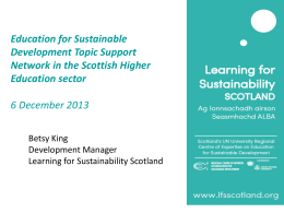 Betsy King, Learning for Sustainability Scotland