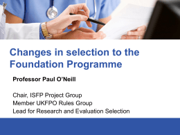 Selection to the Foundation Programme