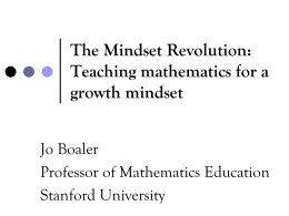 Teaching mathematics for a growth mindset