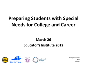 Preparing Students with Special Needs for College and Career