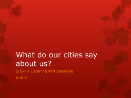 What do our cities say about us?