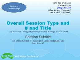 Presenter`s PPT Template for 2015 Winter Conference