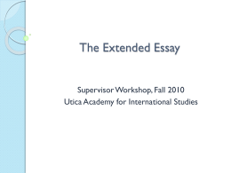 The Extended Essay - UAIS Research Site