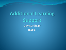 Additional Learning Support Presentation
