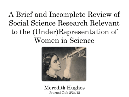 (Under)Representation of Women in Science