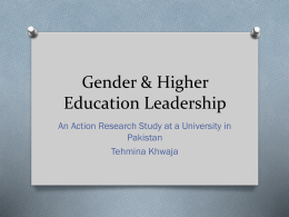 Gender & Higher Education Leadership