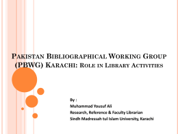 Pakistan Bibliographical working Group (pbwg)