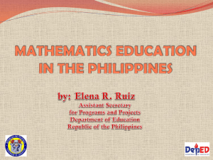 Mathematics Education in the Philippines - Elena R. Ruiz