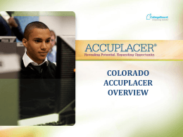 Accuplacer Presentation October 9