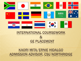 """ International Coursework Evaluation and GE Placement"" PPTX"