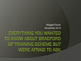 about bradford gp training scheme