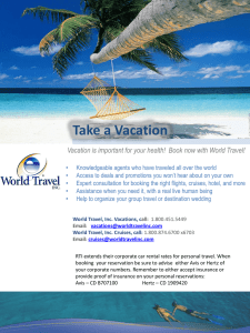 World Travel Agency Employee Discount for ALL RTI employees