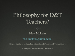 Philosophy for D&T Teachers?