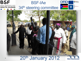 Presentation - BSF | Basic Services Fund SOUTH SUDAN