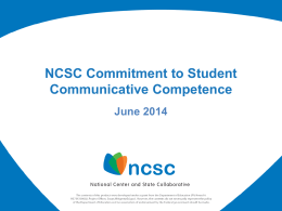 NCSC Student Communicative Competence