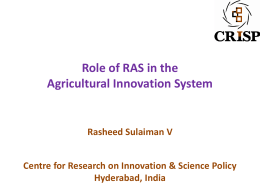 Role of RAS in Agricultural Innovation System