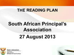 SAPA Presentation on Reading Plans