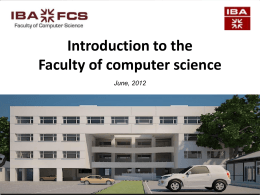 Overview - Faculty of Computer Science IBA