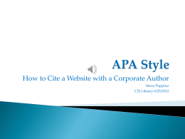 Cite a Website with a Corporate Author