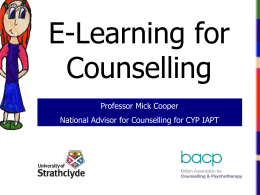 E-learning for counselling