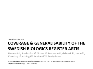 Coverage & generalisability of the swedish biologics register ARTIS