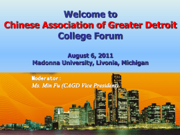 Derek Wu - Chinese Association of Greater Detroit