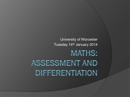 Maths - Assessment and Differentiation (Module