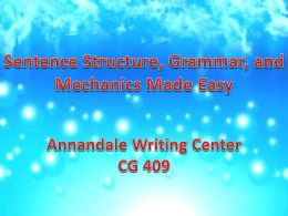 Sentence Structure, Grammar, and Mechanics Made Easy