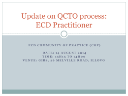 Update on QCTO process: ECD Practitioner