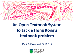 an open textbook system to tackle hong kong`s textbook