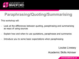 ParaQuotSumm - University of Bradford