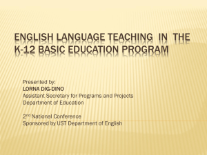 English Language Teaching in the K