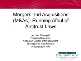 Mergers and Acquisitions (M&As): Running Afoul of Antitrust Laws