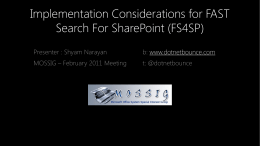 Implementation Considerations for FAST Search For SharePoint