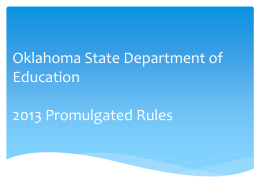 2013 Promulgated Rules - Cooperative Council for Oklahoma