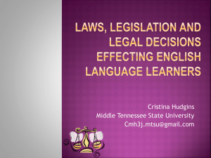 Laws Effecting ELLs - ESL-Professional