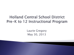 Curriculum Report May 2013 - Holland Central School District