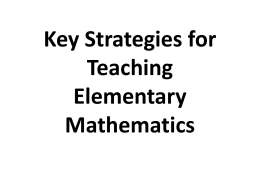 Key Strategies for Teaching Elementary Mathematics