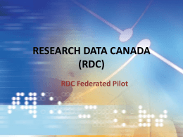 Draft Slide set on the Federated Pilot Project