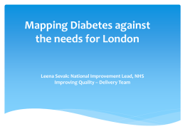 Mapping Diabetes against the needs for London