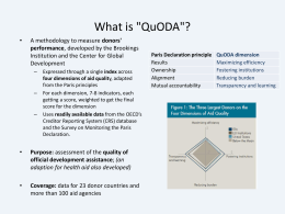 Quality of Aid Effectiveness in health