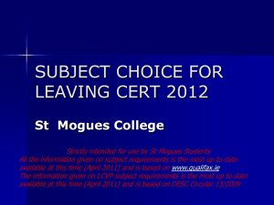 Mogues LC Subject Choice 2013 - Cavan and Monaghan Education