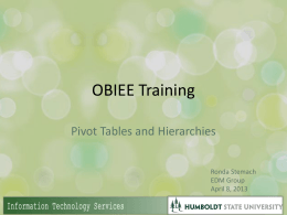 Pivot tables training