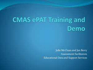 CMAS ePAT Training and Demo
